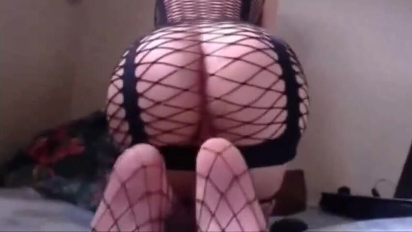 Hot Sissy Posing and Humping in Fishnet 3