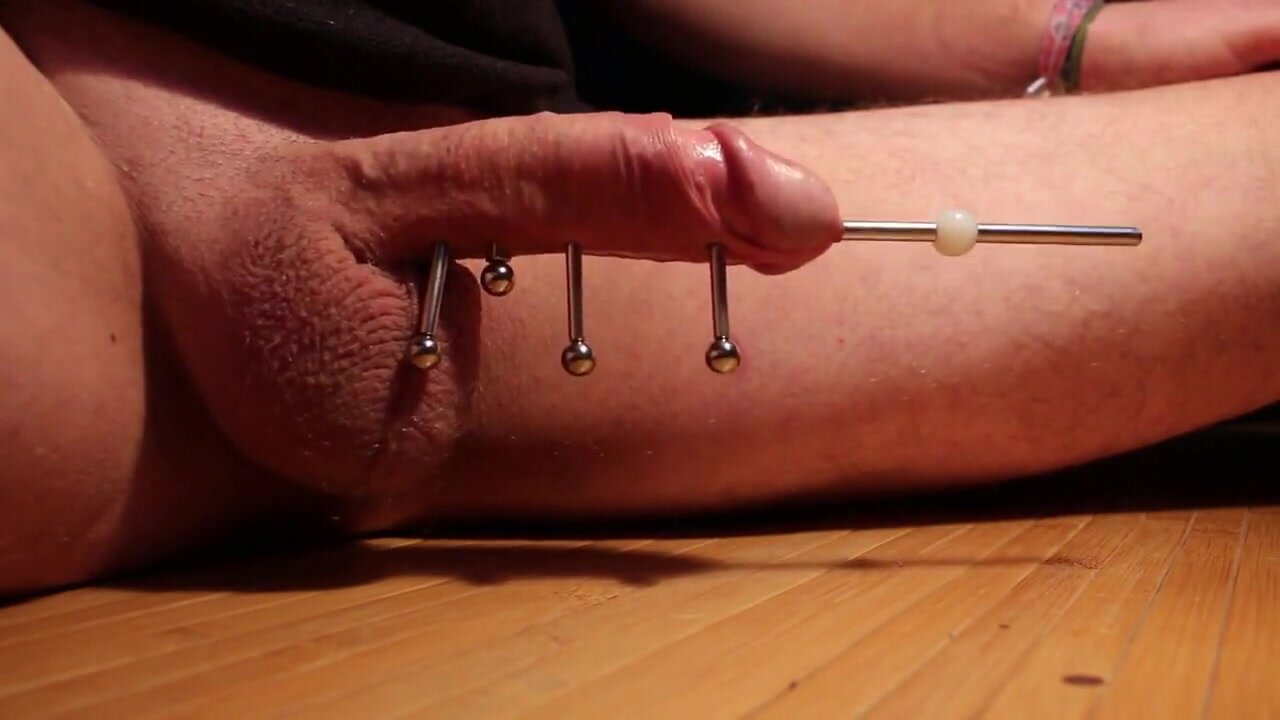 Inserting Metal Rod into young Cock and Magnets to attach it